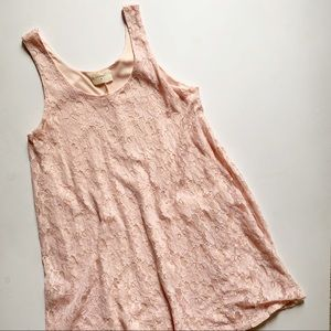 Anthro Everly• light pink lace sleeveless dress